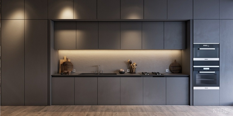 paneles grises cocina minimalista fuentes