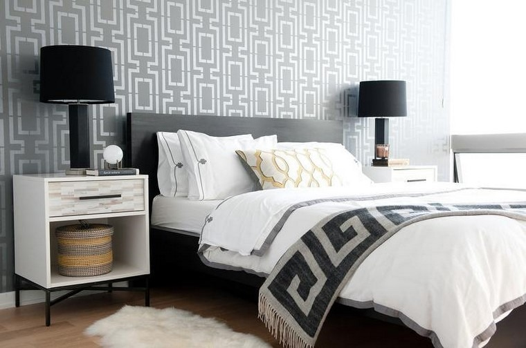 papel pared dormitorio color negro diseno ideas