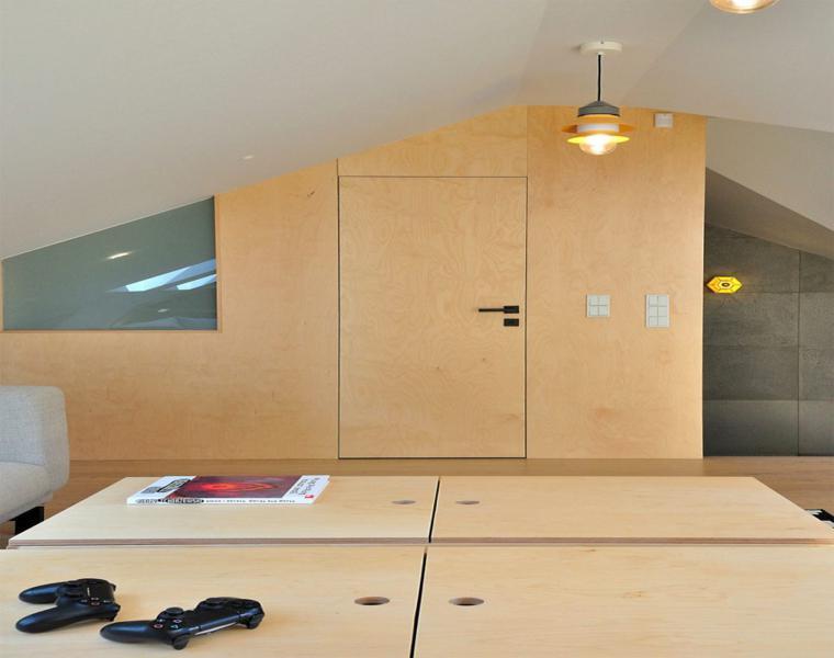 pared paneles madera laminada