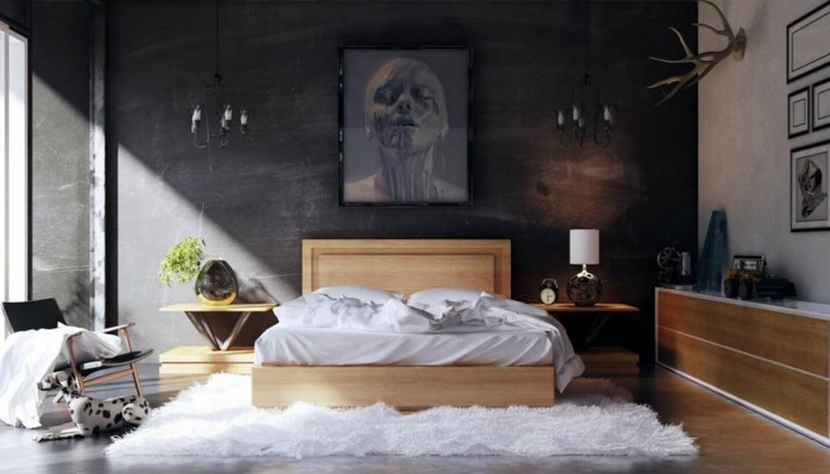 pared negra alfombra blanca muebles madera ideas