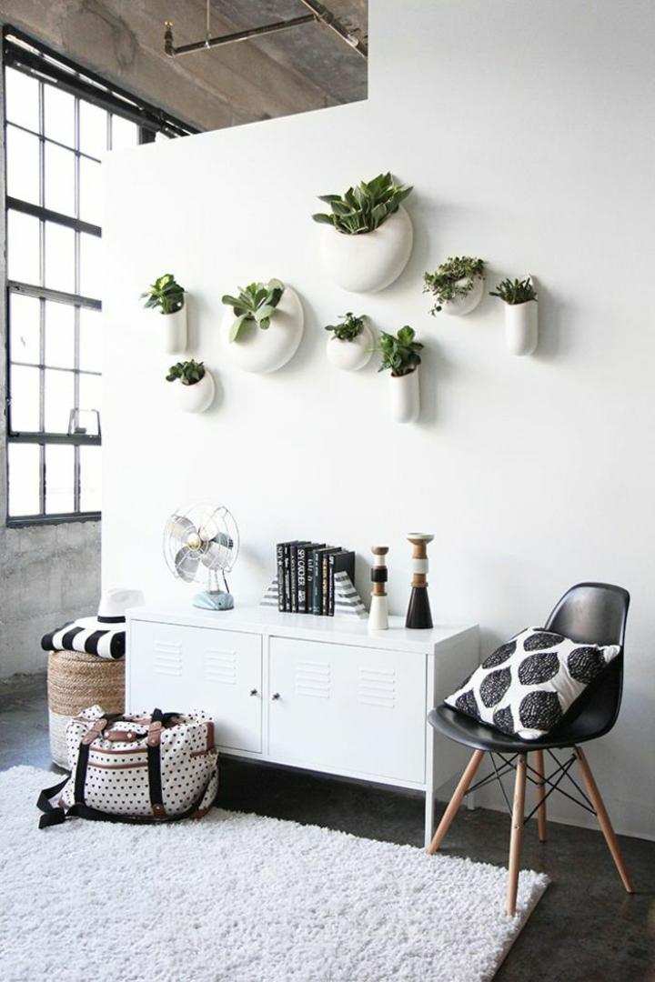 paredes blancas especiales macetas moderno
