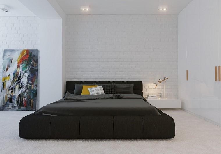paredes ladrillo blanco cama negra diseno ideas