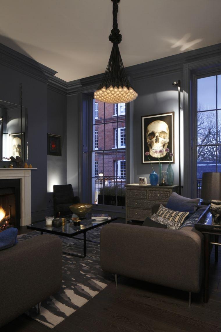 paredes maderno azul salon diseno moderno ideas