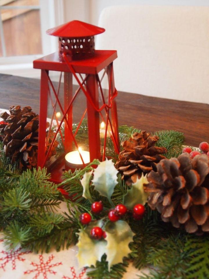 piñas decoracion lampara roja efectos