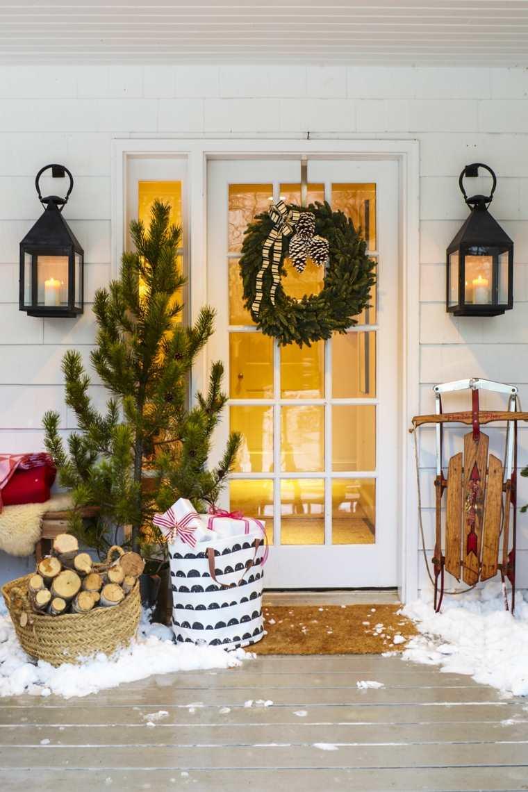 puerta porche guirnalda decorar navidad ideas