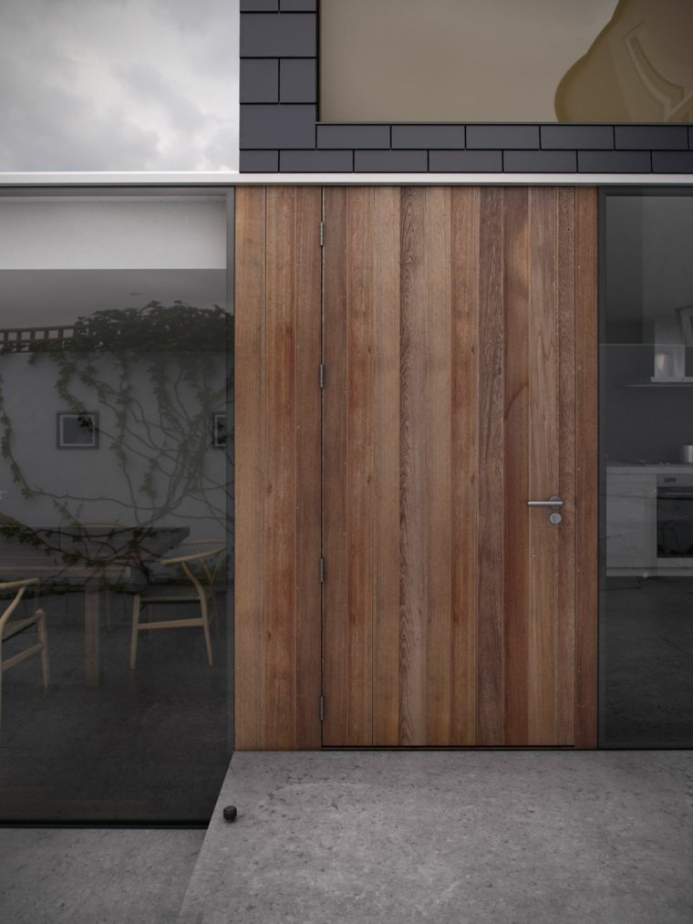 puertas diseño madera maciza paneles cristales
