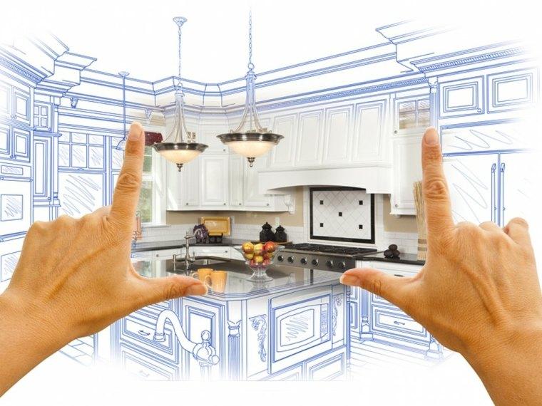 reforma cocina imagen plano manos