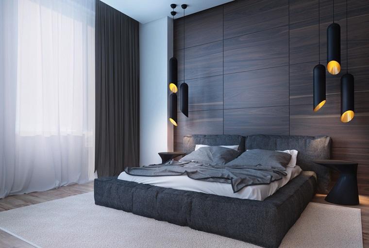 revestimento de paredes paneles madera dormitorio ideas