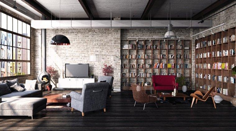 revestimientos de paredes ladrillo salon amplio ideas