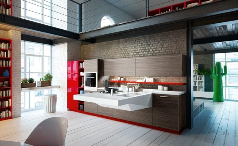 rojo madera cocina Snaidero