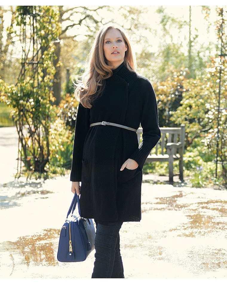 ropa embarazadas opciones abrigo negro diseno ideas