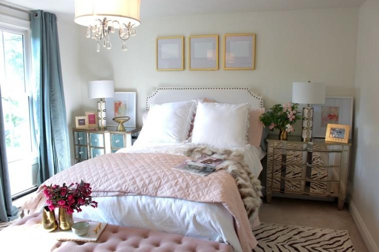 rosa dorado combinacion diseno dormitorio ideas
