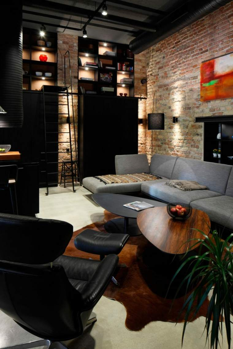 sala de estar pared ladrillo