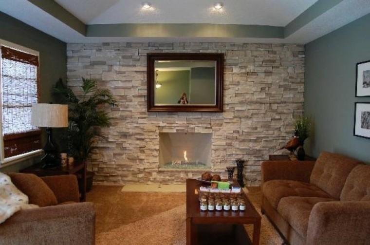 sala de estar pared piedra