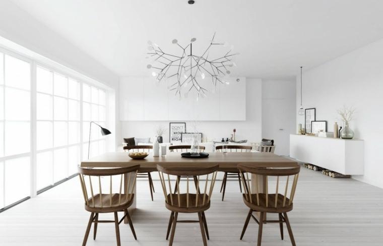 salon comedor blanco muebles madera