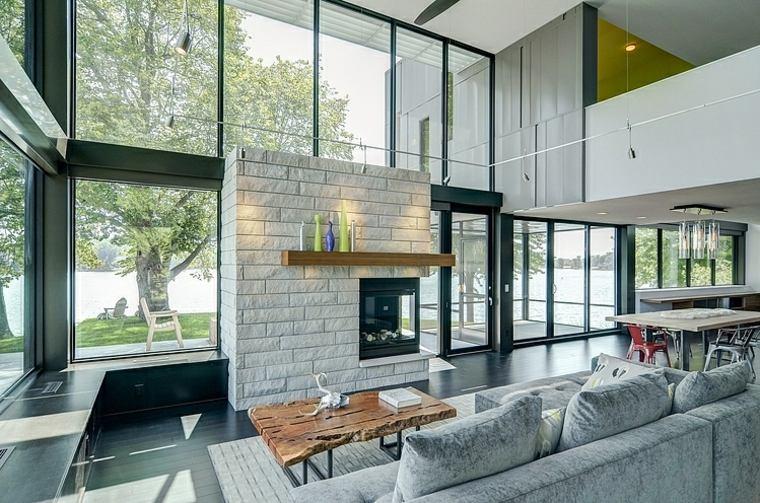 salon diseno moderno con chimenea