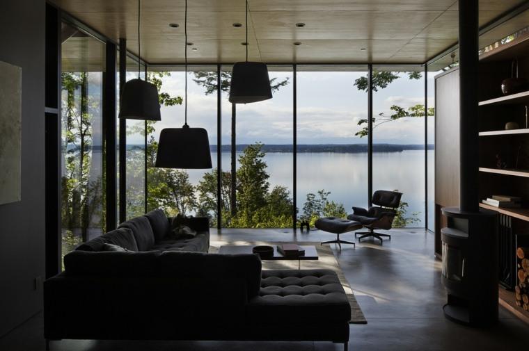 salon ventana grande muebles suelo oscuro ideas