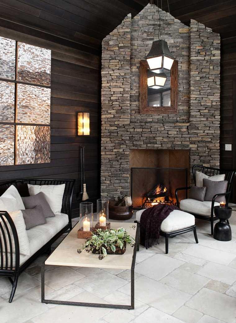 salón moderno chimenea piedra