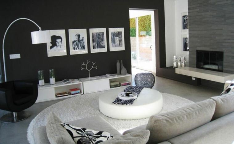 salones de diseno oscuro moderno chimenea muebles blancos ideas