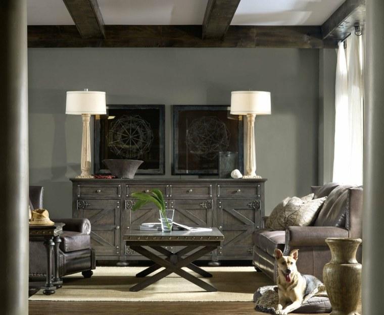 salones de diseno oscuro muebles gris ideas