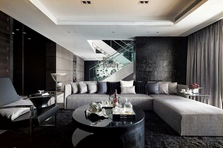 salones de diseno oscuro muebles negro sofa angulo ideas