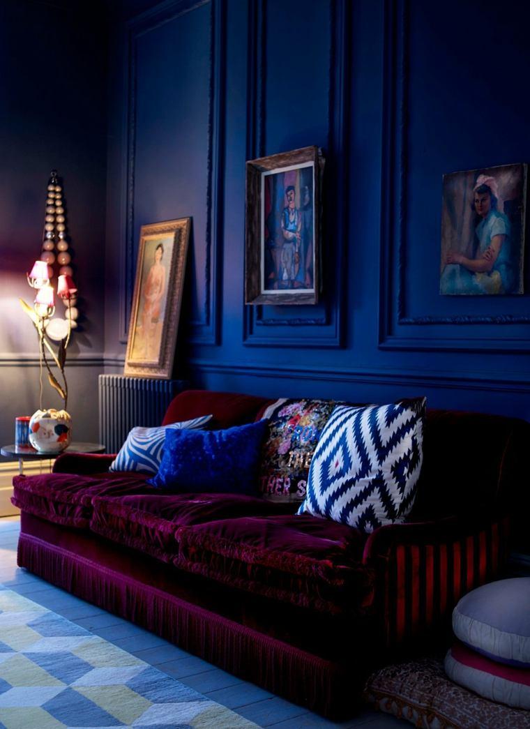 salones de diseno oscuro pared azul oscuro ideas