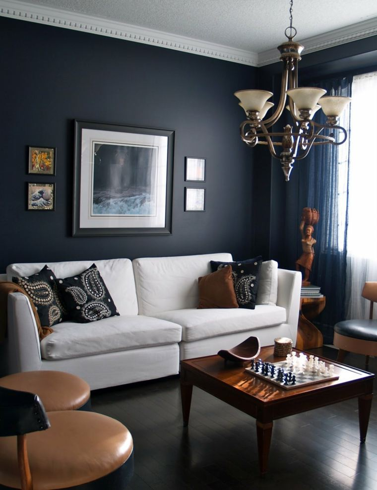 salones de diseno oscuro pared negra sofa blanca ideas