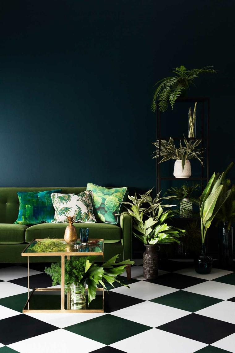 salones de diseno oscuro pared negra sofa verde ideas