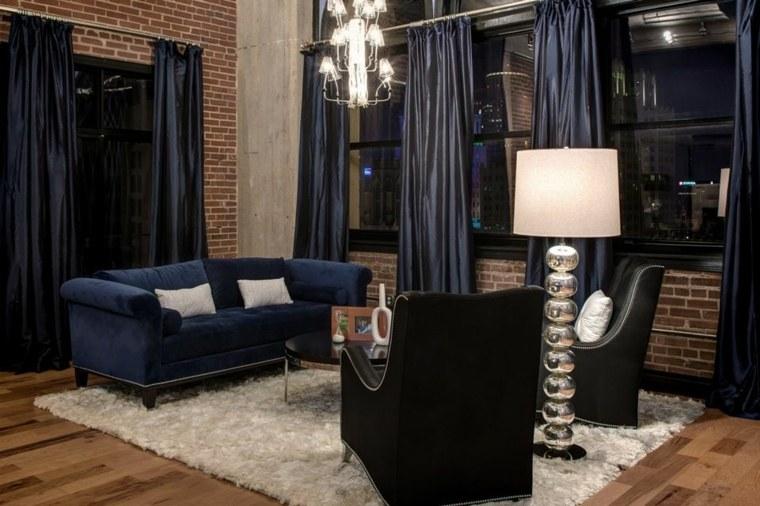 salones de diseno oscuro sofa azul preciosa ideas