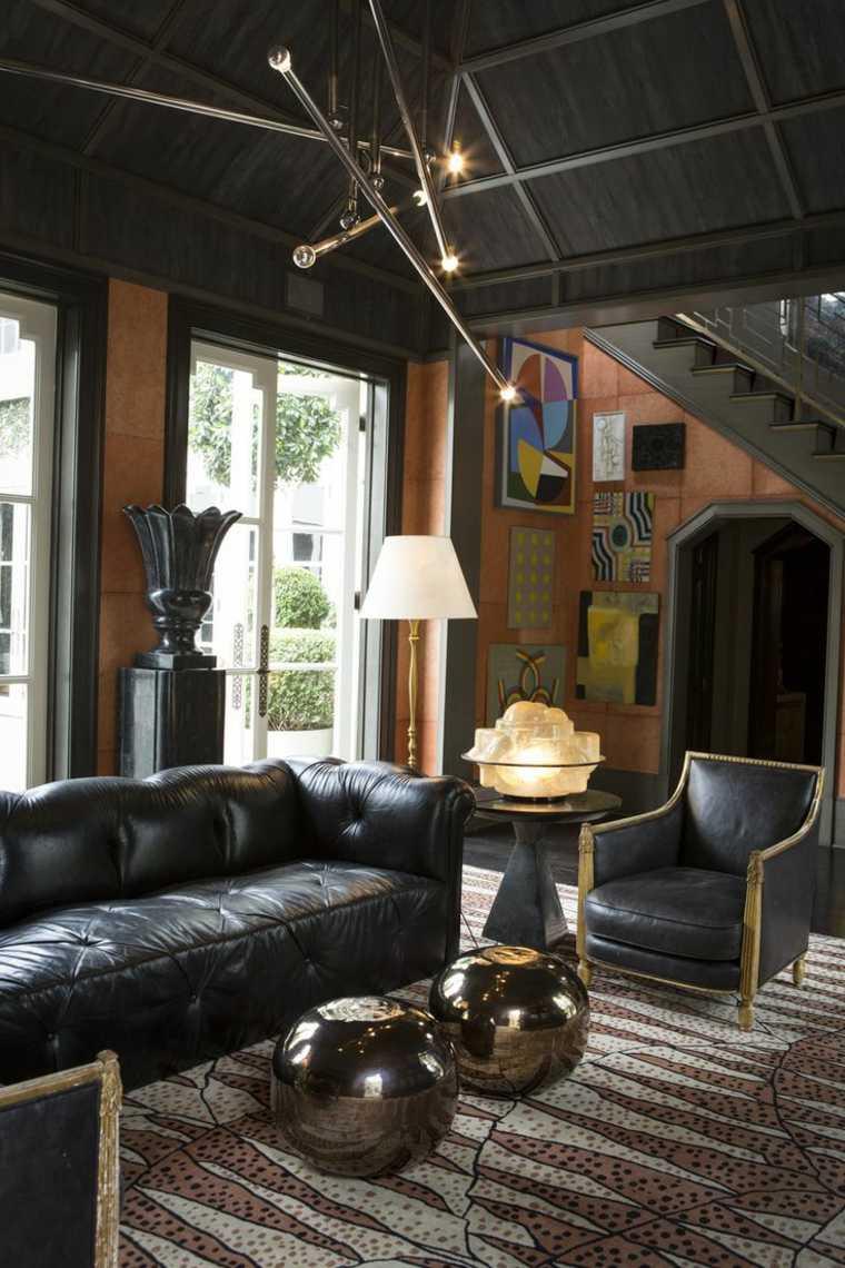 salones de diseno oscuro sofa cuero negro ideas