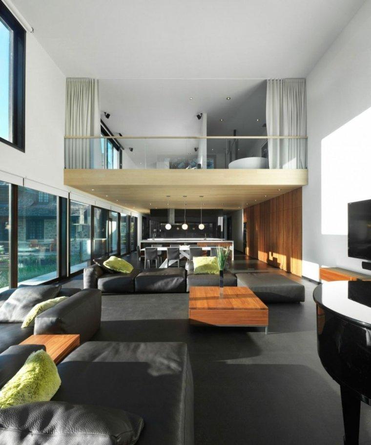 salones de diseno oscuro suelo muebles espacio aireado ideas