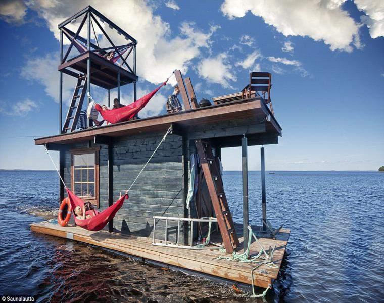sauna flotante original diseño