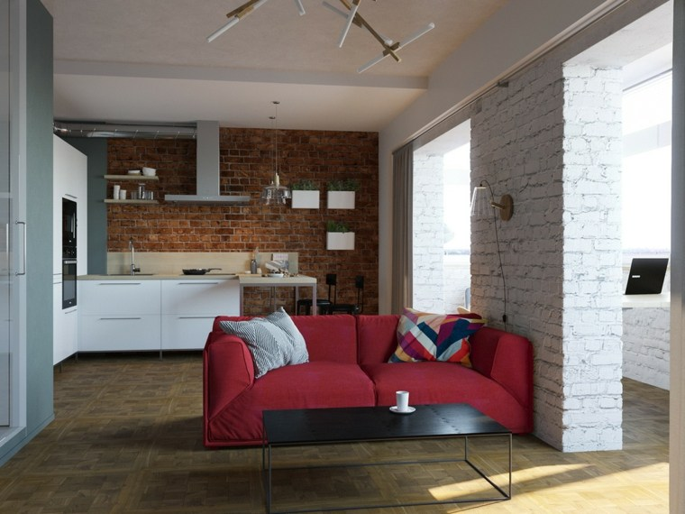 separador sofa cocinas rojo color