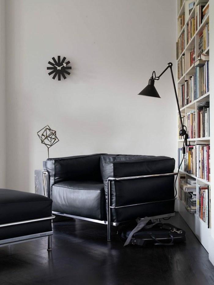 sillón piel color negro