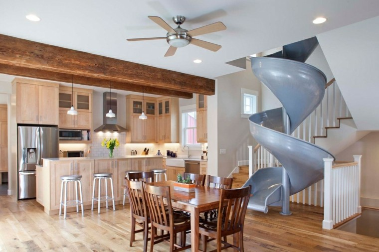 toboganes escaleras casa opciones modernos diseno ideas