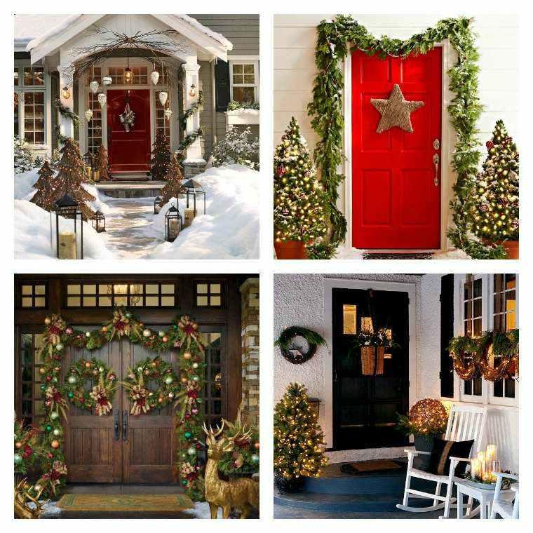 varias opciones decorara puerta navidad ideas