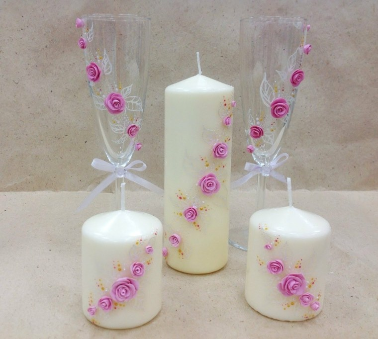 velas decoradas flores