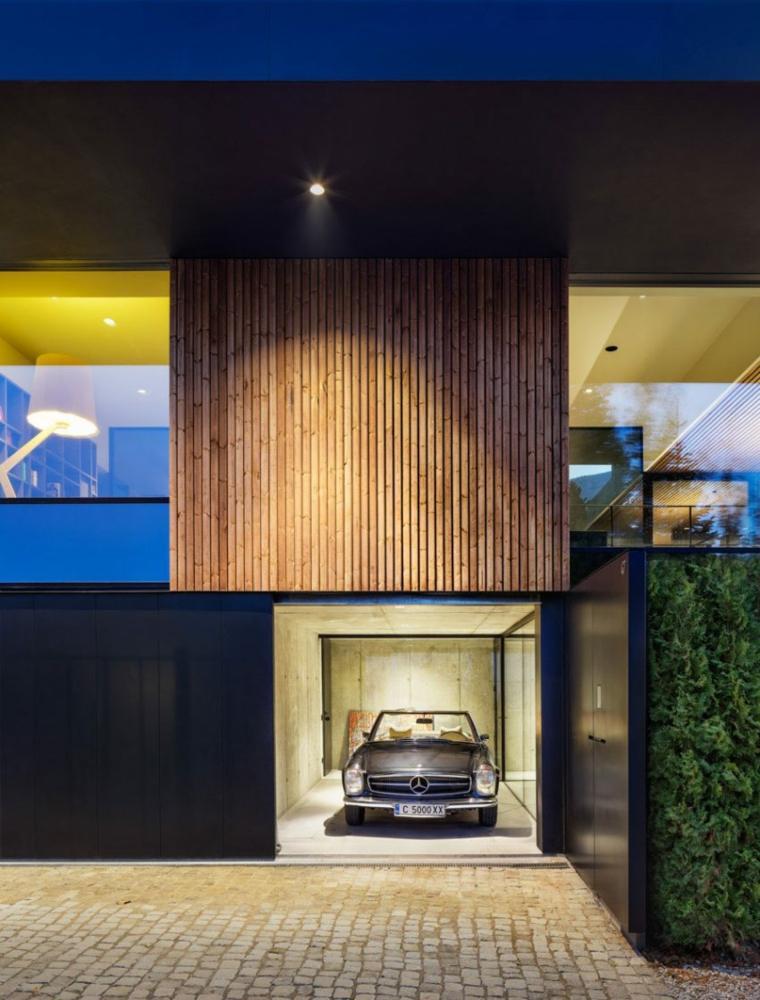 vista exterior garaje fachada madera