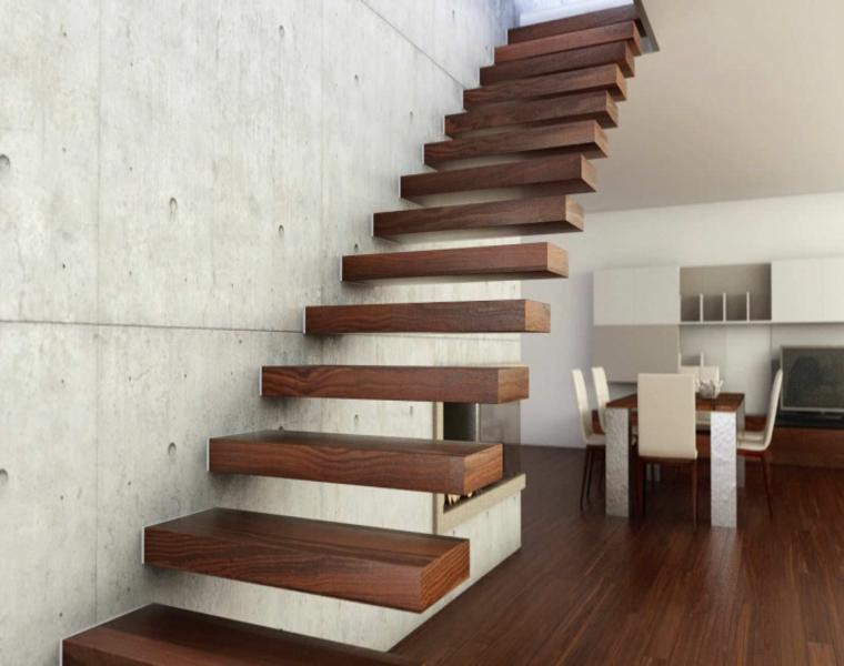 escaleras peldaños madera laminada