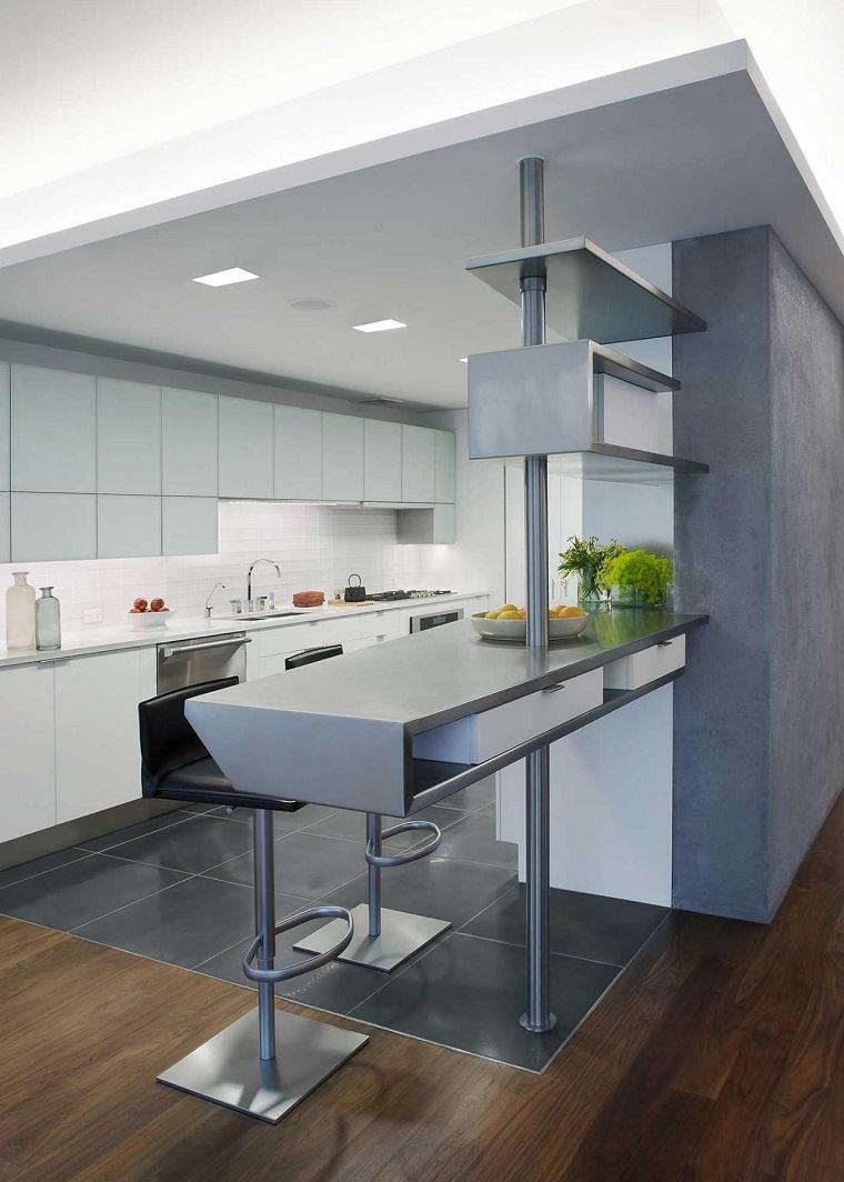 Cocinas modernas con barra 38 dise os que se ven for Una cocina moderna
