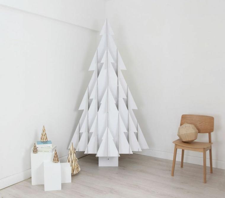 abeto Navidad carton color blanco