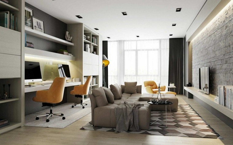 alargado espacios trabajo muebles lineas