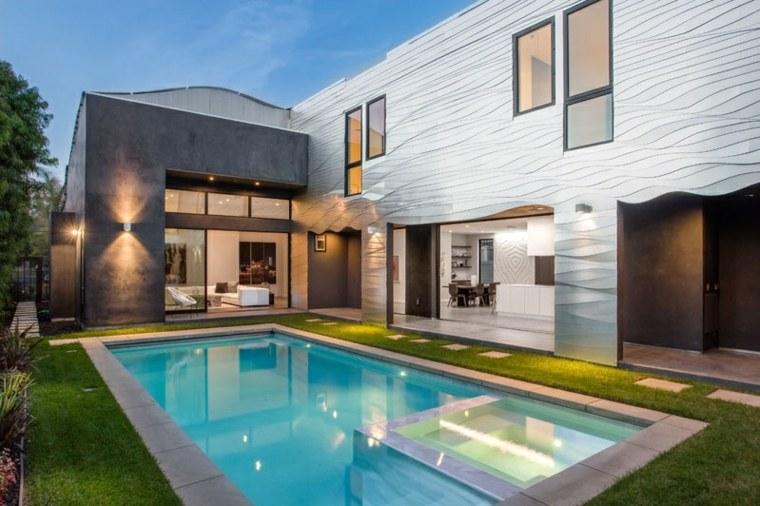 aluminio piscina patio trasero cesped