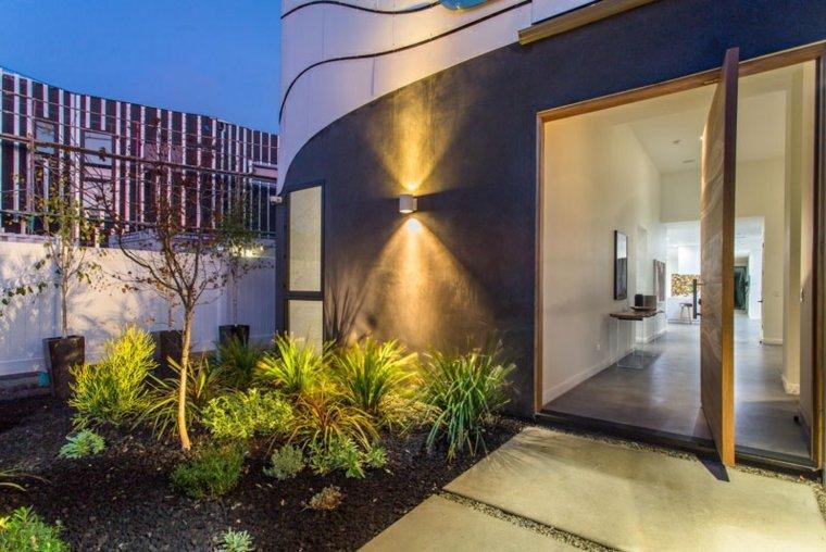 aluminio pivotante puerta madera plantas