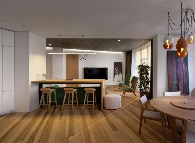 apartamento decoración diseno minimalista barra madera ideas