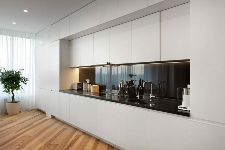 apartamento decoración diseno minimalista cocina blanca minimalista ideas