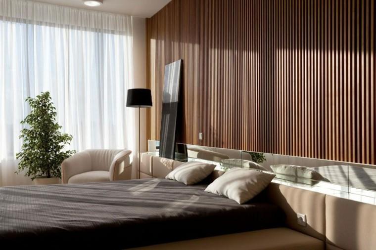 apartamento decoracion diseno minimalista dormitorio pared madera ideas