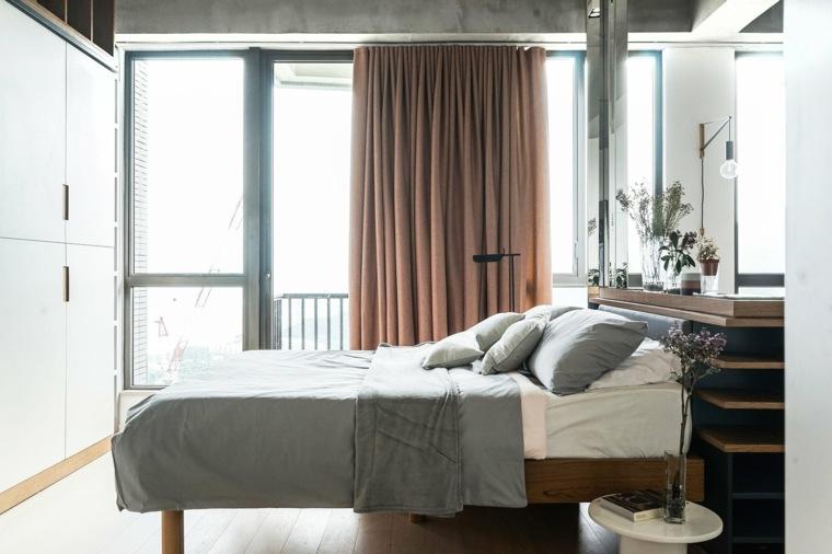 apartamentos espacio dormitorio cortinas marronas