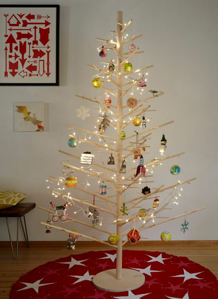 arbol navidad madera ramas cilindros