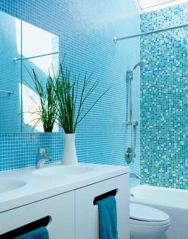 azul aguamarina decoración baño